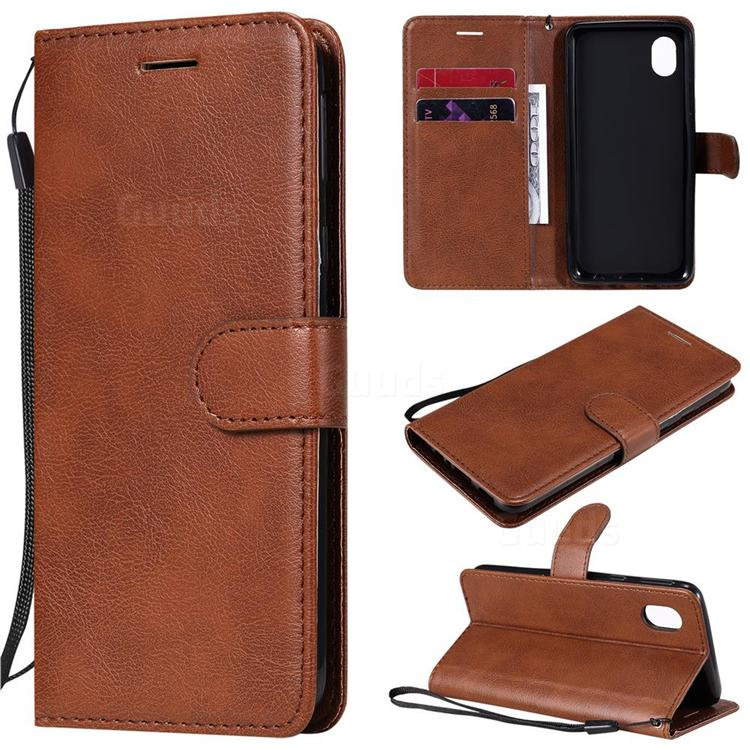 Retro Greek Classic Smooth PU Leather Wallet Phone Case for Samsung Galaxy A01 Core - Brown