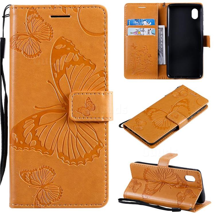 Embossing 3D Butterfly Leather Wallet Case for Samsung Galaxy A01 Core - Yellow