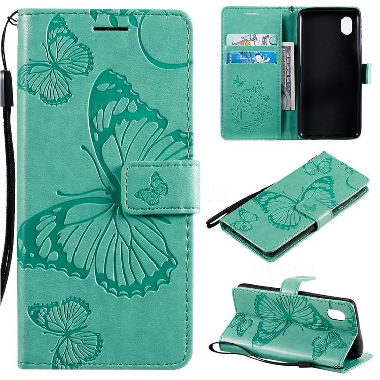 Embossing 3D Butterfly Leather Wallet Case for Samsung Galaxy A01 Core - Green