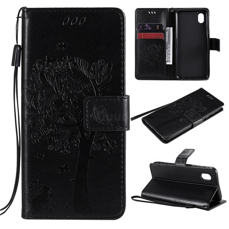 Embossing Butterfly Tree Leather Wallet Case for Samsung Galaxy A01 Core - Black