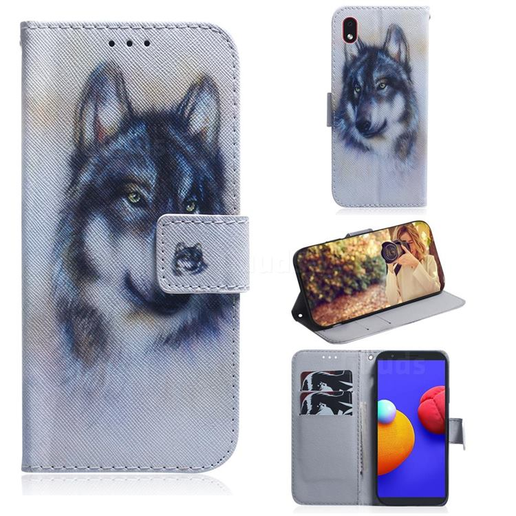 Snow Wolf PU Leather Wallet Case for Samsung Galaxy A01 Core