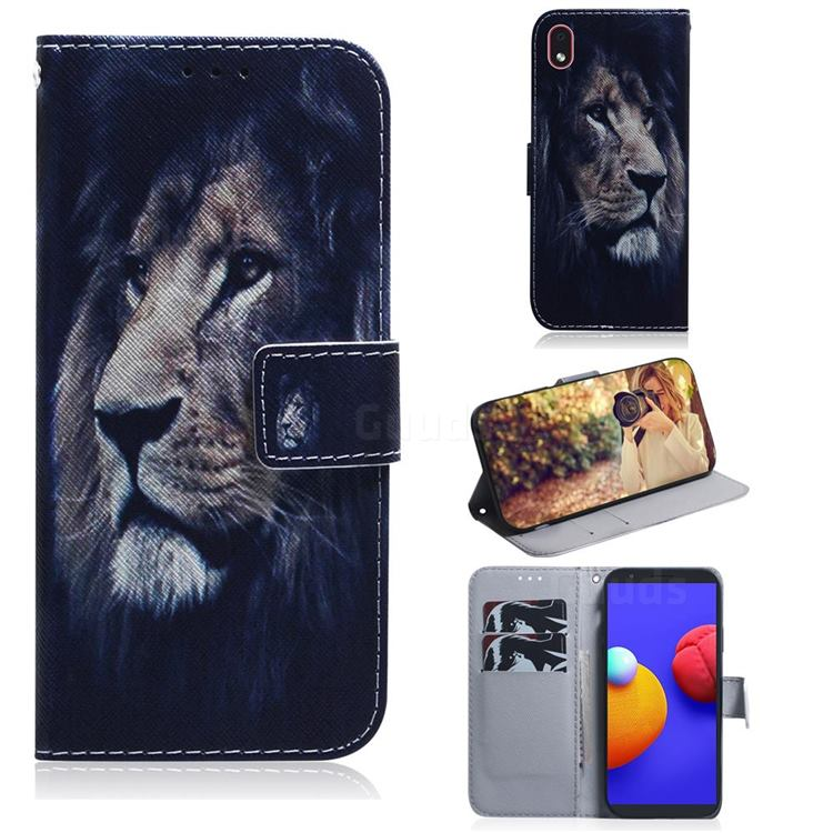 Lion Face PU Leather Wallet Case for Samsung Galaxy A01 Core