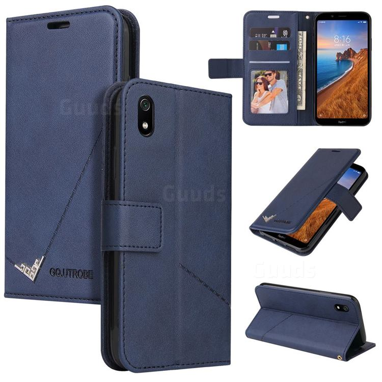 GQ.UTROBE Right Angle Silver Pendant Leather Wallet Phone Case for Samsung Galaxy A01 Core - Blue