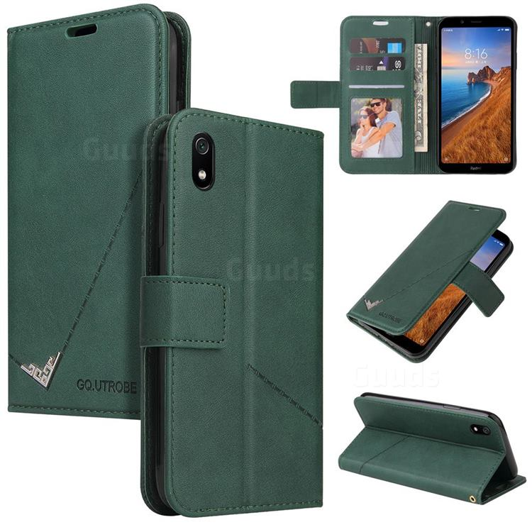 GQ.UTROBE Right Angle Silver Pendant Leather Wallet Phone Case for Samsung Galaxy A01 Core - Green