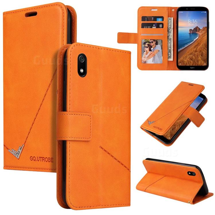 GQ.UTROBE Right Angle Silver Pendant Leather Wallet Phone Case for Samsung Galaxy A01 Core - Orange