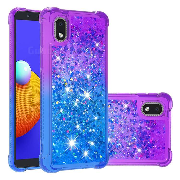 Rainbow Gradient Liquid Glitter Quicksand Sequins Phone Case for Samsung Galaxy A01 Core - Purple Blue