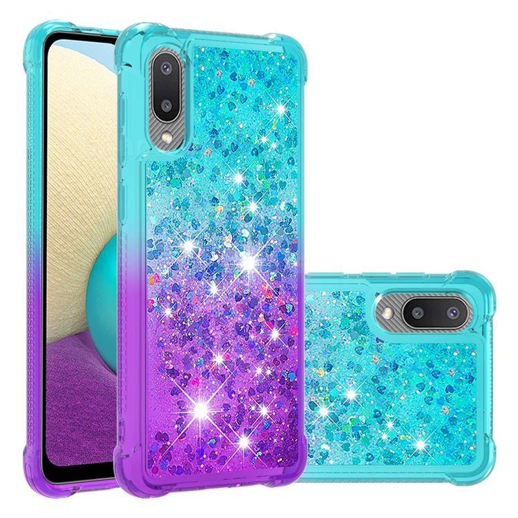 Rainbow Gradient Liquid Glitter Quicksand Sequins Phone Case for Samsung Galaxy A02 - Blue Purple