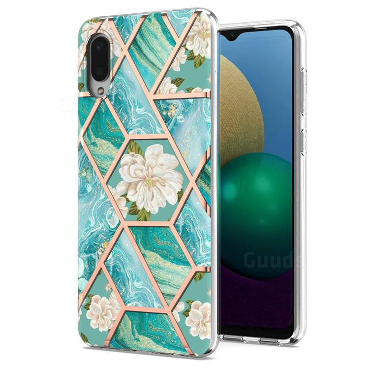 Blue Chrysanthemum Marble Electroplating Protective Case Cover for Samsung Galaxy A02
