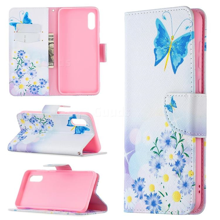 Butterflies Flowers Leather Wallet Case for Samsung Galaxy A02