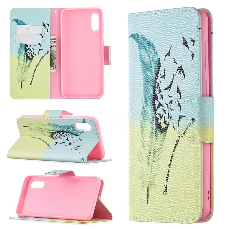 Feather Bird Leather Wallet Case for Samsung Galaxy A02