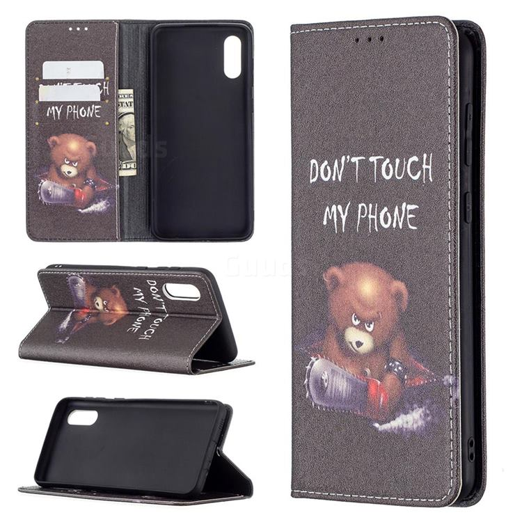 Chainsaw Bear Slim Magnetic Attraction Wallet Flip Cover for Samsung Galaxy A02