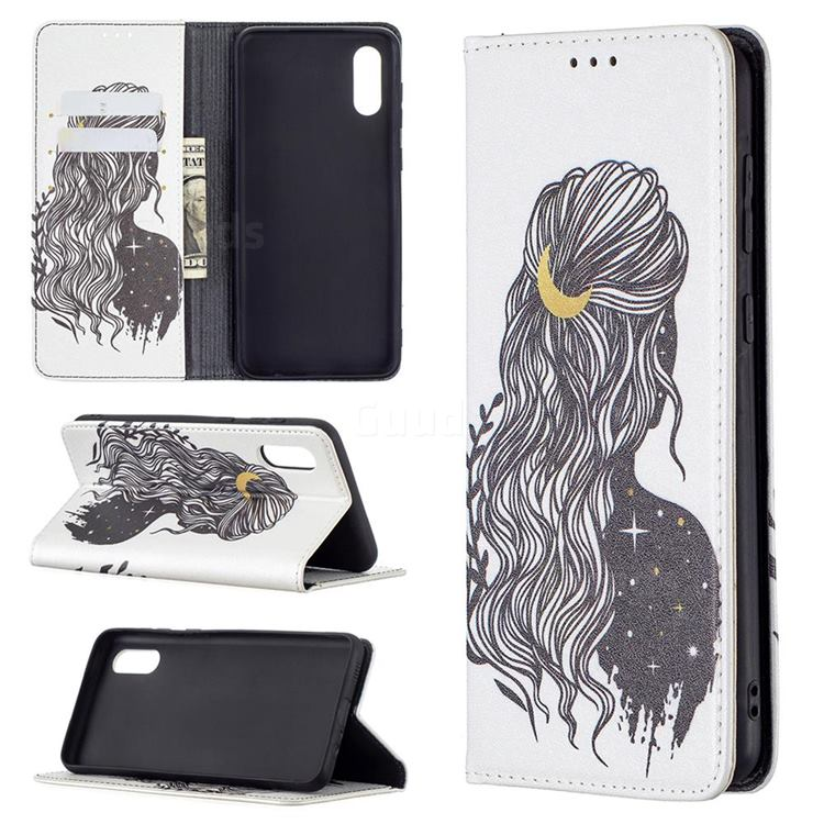 Girl with Long Hair Slim Magnetic Attraction Wallet Flip Cover for Samsung Galaxy A02