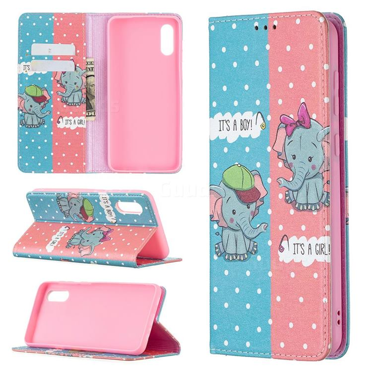 Elephant Boy and Girl Slim Magnetic Attraction Wallet Flip Cover for Samsung Galaxy A02