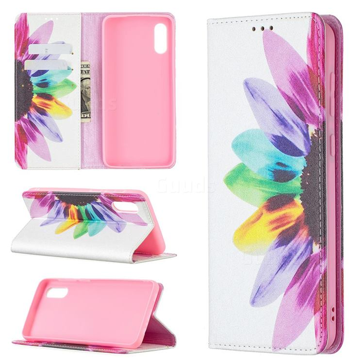 Sun Flower Slim Magnetic Attraction Wallet Flip Cover for Samsung Galaxy A02