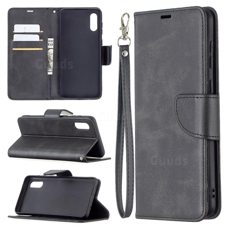 Classic Sheepskin PU Leather Phone Wallet Case for Samsung Galaxy A02 - Black