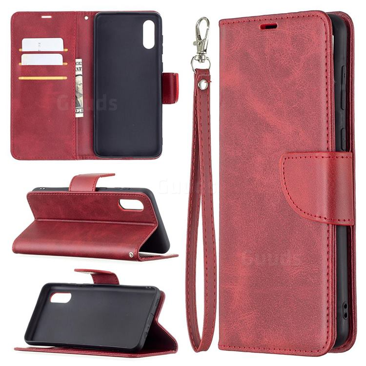 Classic Sheepskin PU Leather Phone Wallet Case for Samsung Galaxy A02 - Red