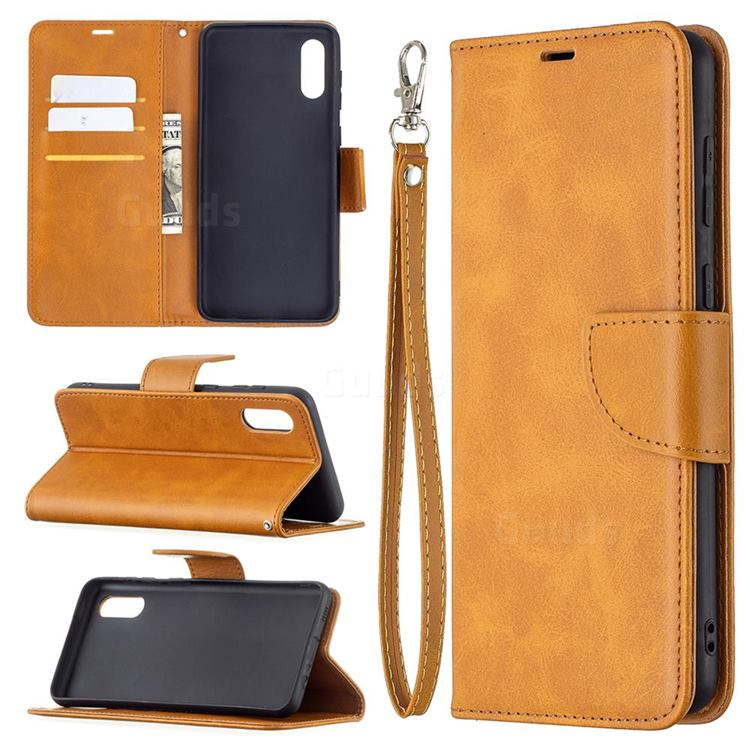 Classic Sheepskin PU Leather Phone Wallet Case for Samsung Galaxy A02 - Yellow