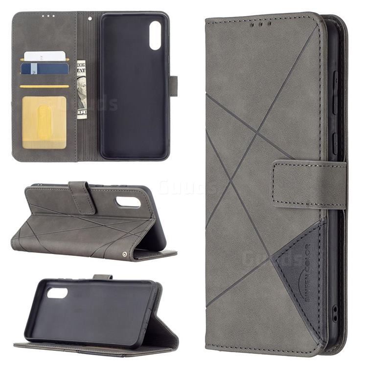 Binfen Color BF05 Prismatic Slim Wallet Flip Cover for Samsung Galaxy A02 - Gray