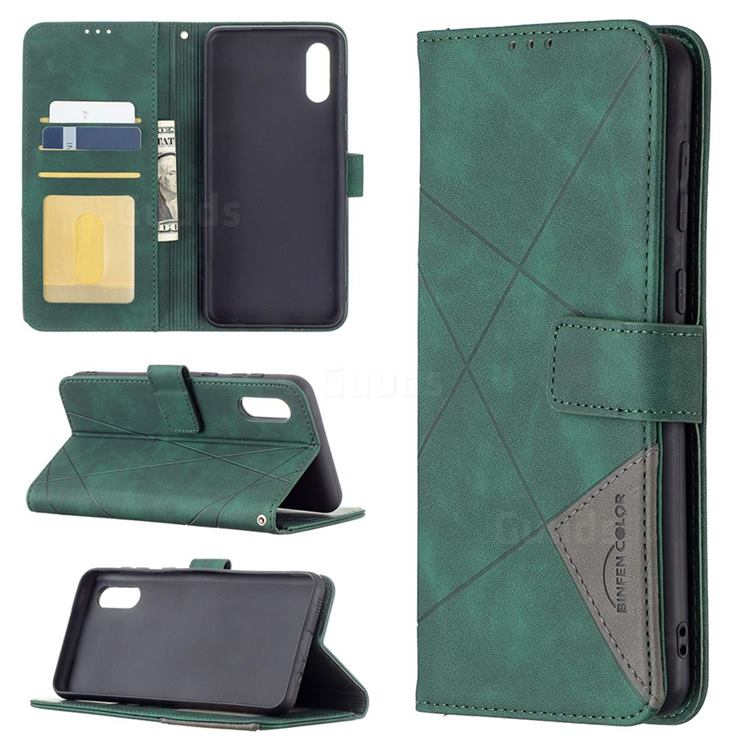 Binfen Color BF05 Prismatic Slim Wallet Flip Cover for Samsung Galaxy A02 - Green