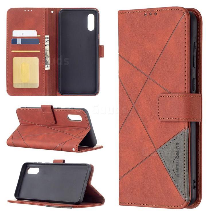 Binfen Color BF05 Prismatic Slim Wallet Flip Cover for Samsung Galaxy A02 - Brown