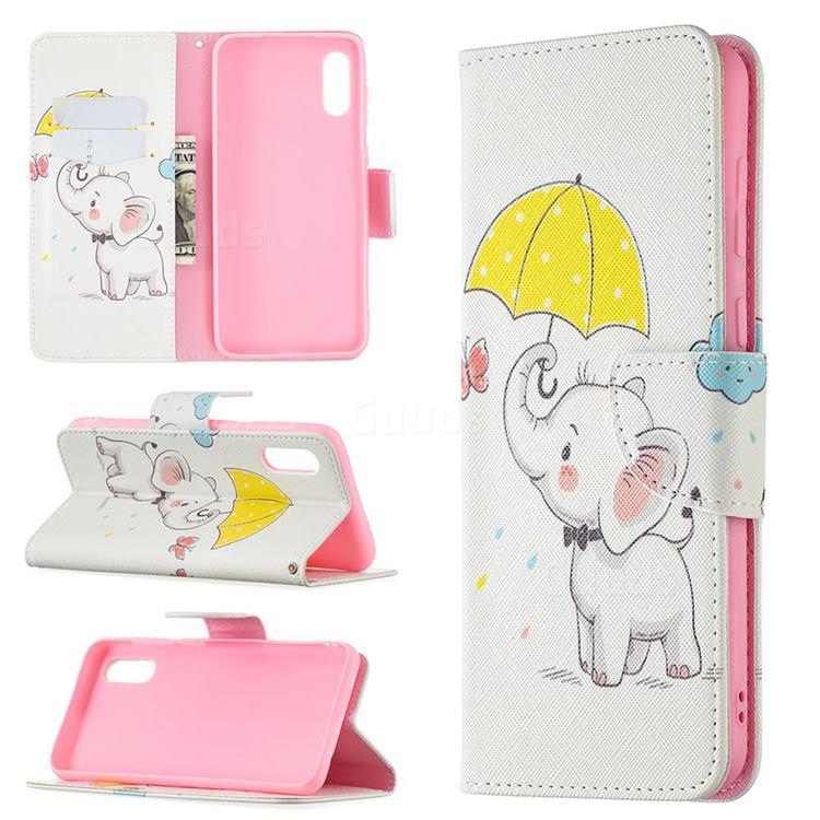 Umbrella Elephant Leather Wallet Case for Samsung Galaxy A02
