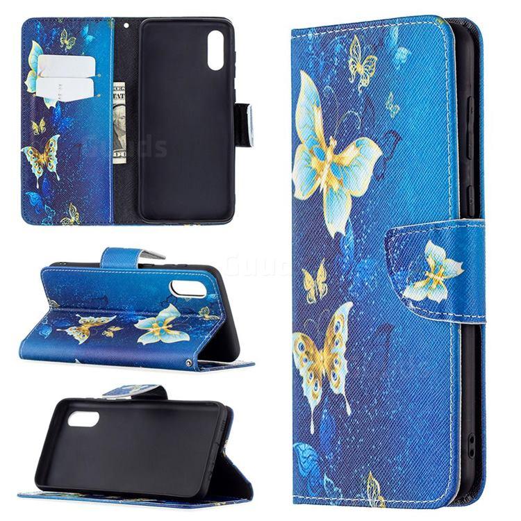 Golden Butterflies Leather Wallet Case for Samsung Galaxy A02
