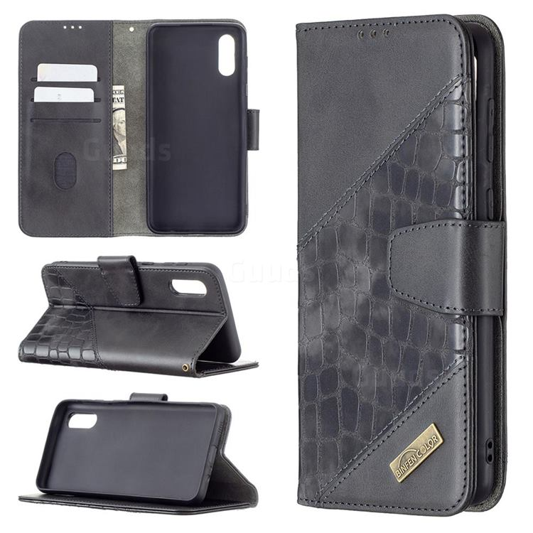 BinfenColor BF04 Color Block Stitching Crocodile Leather Case Cover for Samsung Galaxy A02 - Black