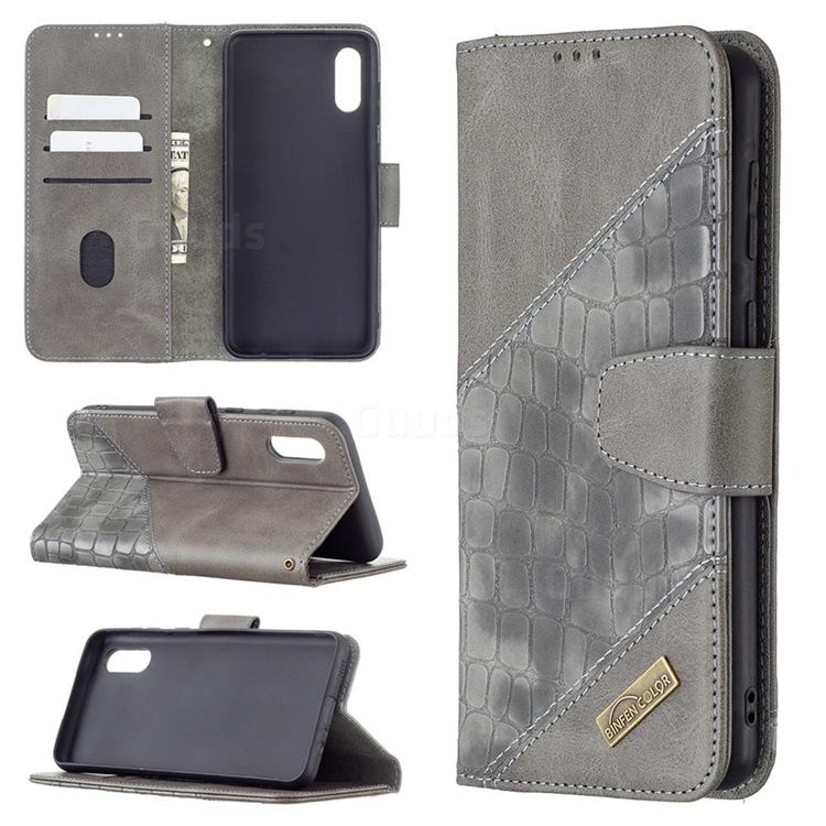BinfenColor BF04 Color Block Stitching Crocodile Leather Case Cover for Samsung Galaxy A02 - Gray