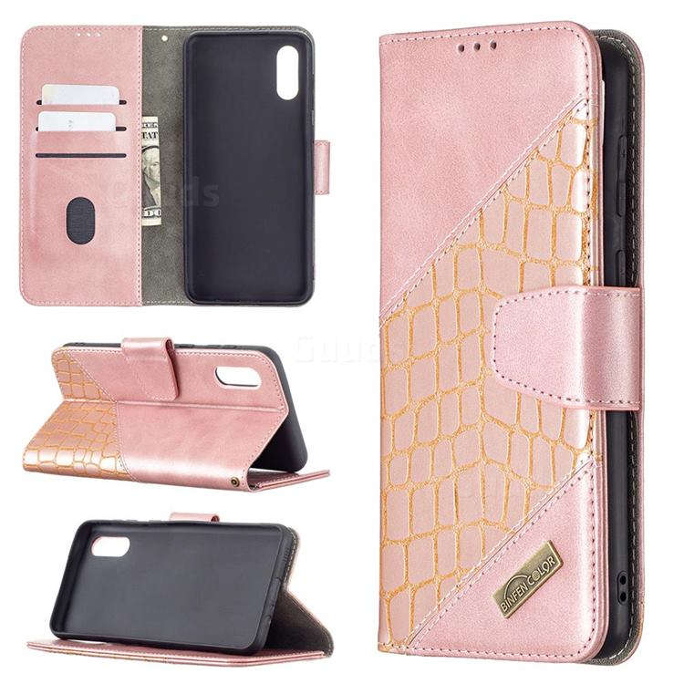 BinfenColor BF04 Color Block Stitching Crocodile Leather Case Cover for Samsung Galaxy A02 - Rose Gold