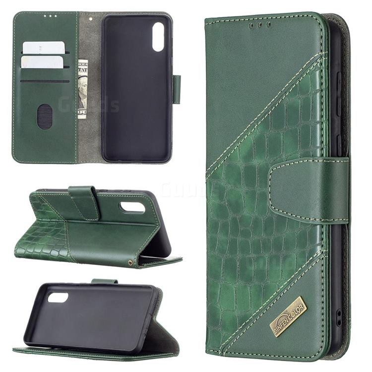 BinfenColor BF04 Color Block Stitching Crocodile Leather Case Cover for Samsung Galaxy A02 - Green