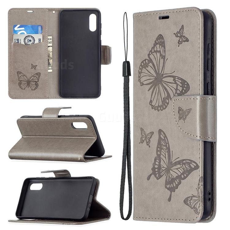 Embossing Double Butterfly Leather Wallet Case for Samsung Galaxy A02 - Gray