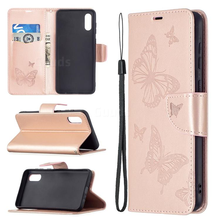 Embossing Double Butterfly Leather Wallet Case for Samsung Galaxy A02 - Rose Gold