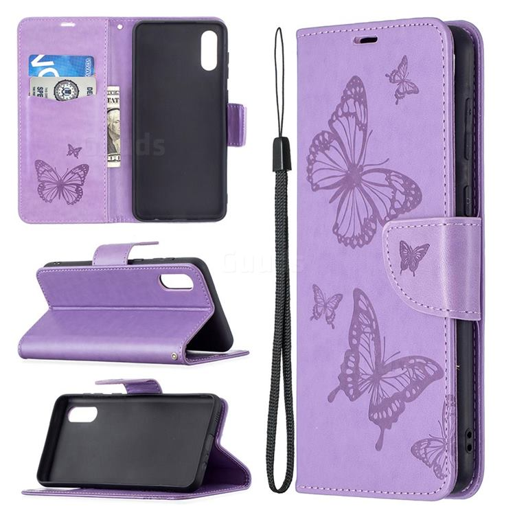 Embossing Double Butterfly Leather Wallet Case for Samsung Galaxy A02 - Purple