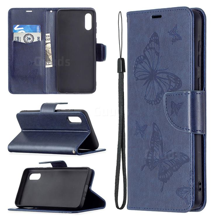 Embossing Double Butterfly Leather Wallet Case for Samsung Galaxy A02 - Dark Blue