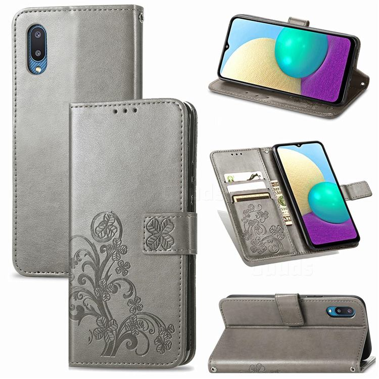 Embossing Imprint Four-Leaf Clover Leather Wallet Case for Samsung Galaxy A02 - Grey