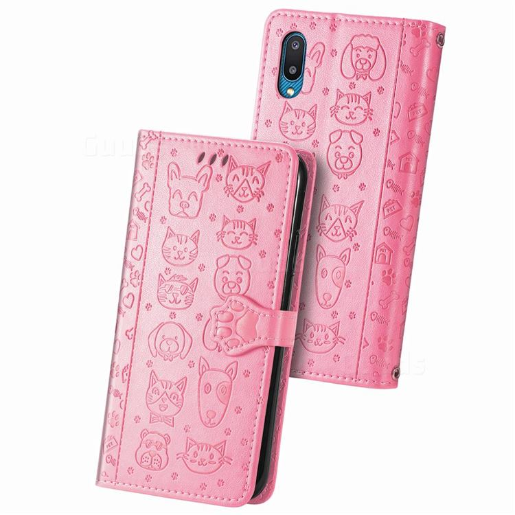 Embossing Dog Paw Kitten and Puppy Leather Wallet Case for Samsung Galaxy A02 - Pink
