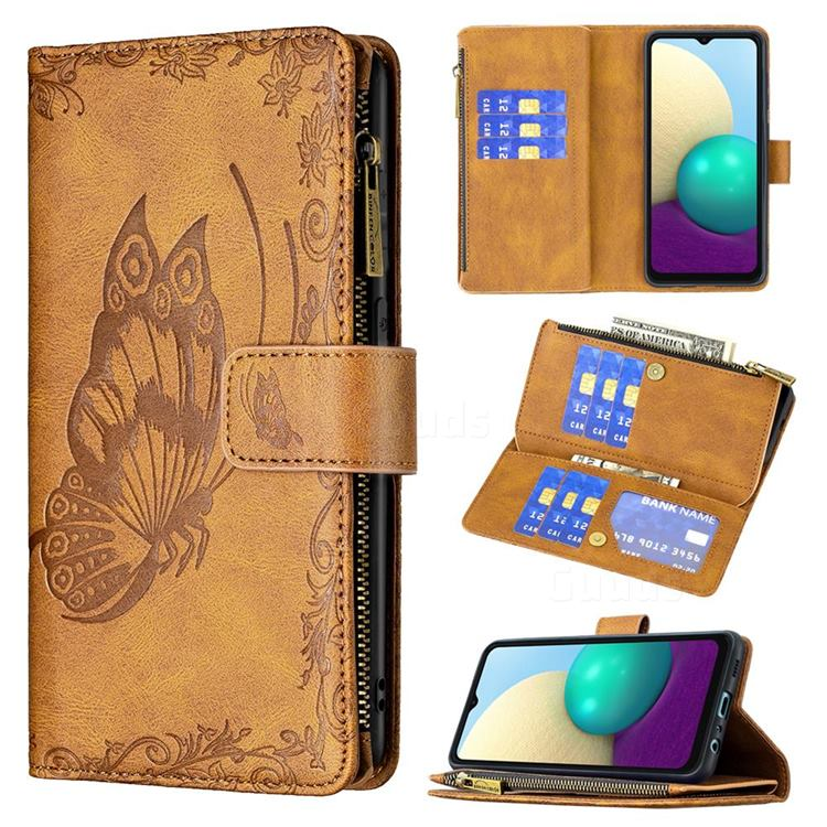 Binfen Color Imprint Vivid Butterfly Buckle Zipper Multi-function Leather Phone Wallet for Samsung Galaxy A02 - Brown