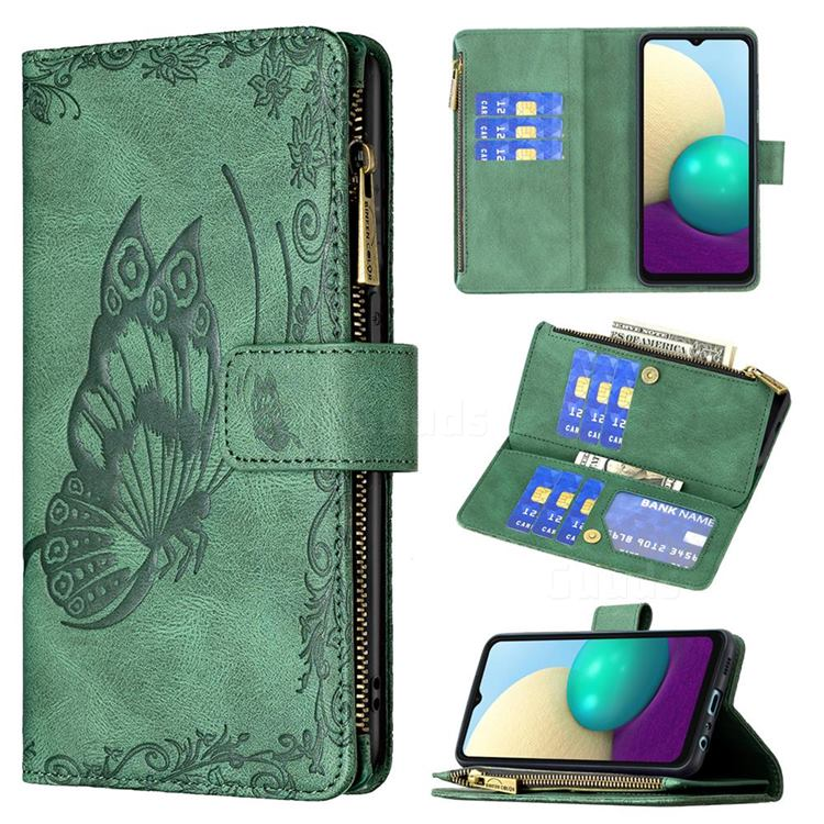Binfen Color Imprint Vivid Butterfly Buckle Zipper Multi-function Leather Phone Wallet for Samsung Galaxy A02 - Green