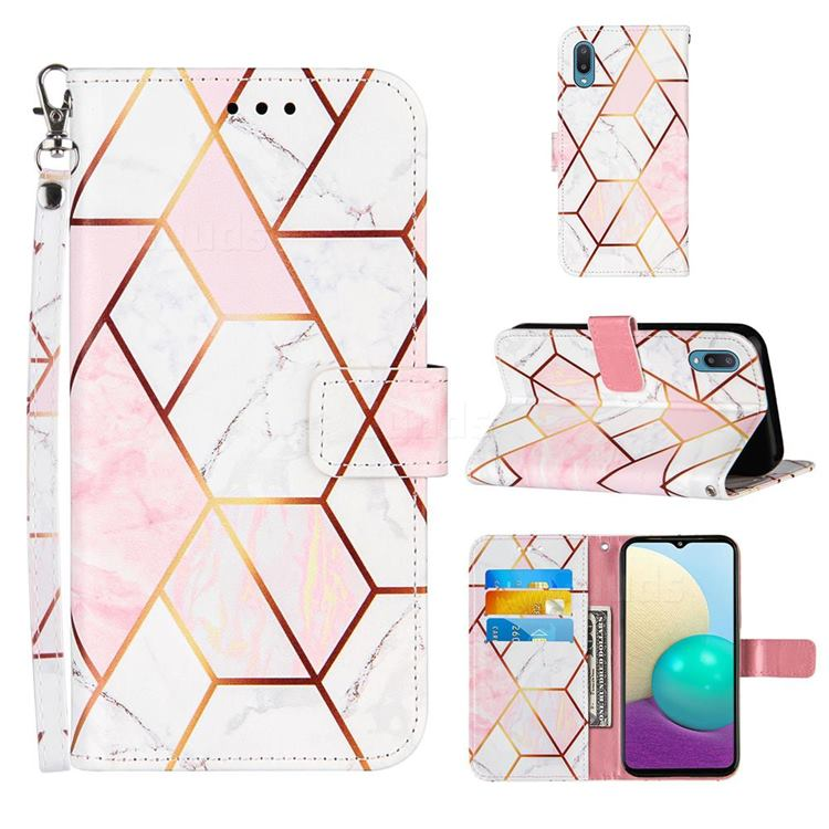 Pink White Stitching Color Marble Leather Wallet Case for Samsung Galaxy A02