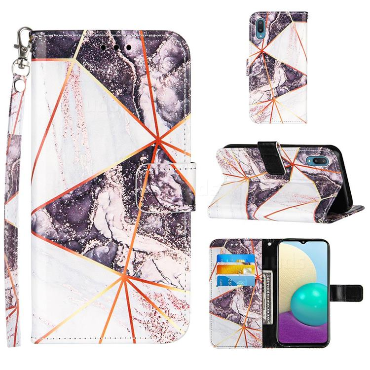 Black and White Stitching Color Marble Leather Wallet Case for Samsung Galaxy A02