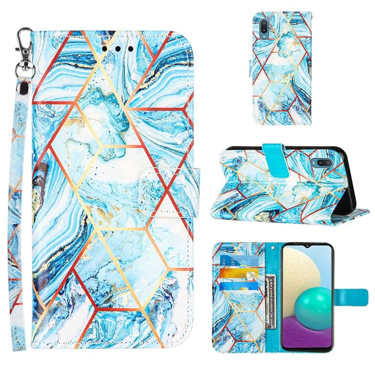 Lake Blue Stitching Color Marble Leather Wallet Case for Samsung Galaxy A02
