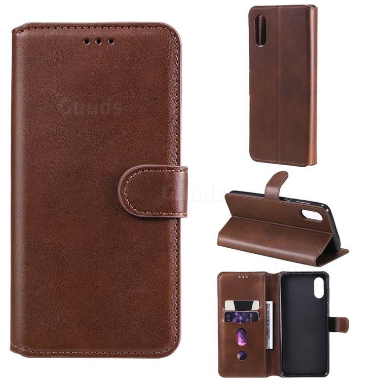 Retro Calf Matte Leather Wallet Phone Case for Samsung Galaxy A02 - Brown