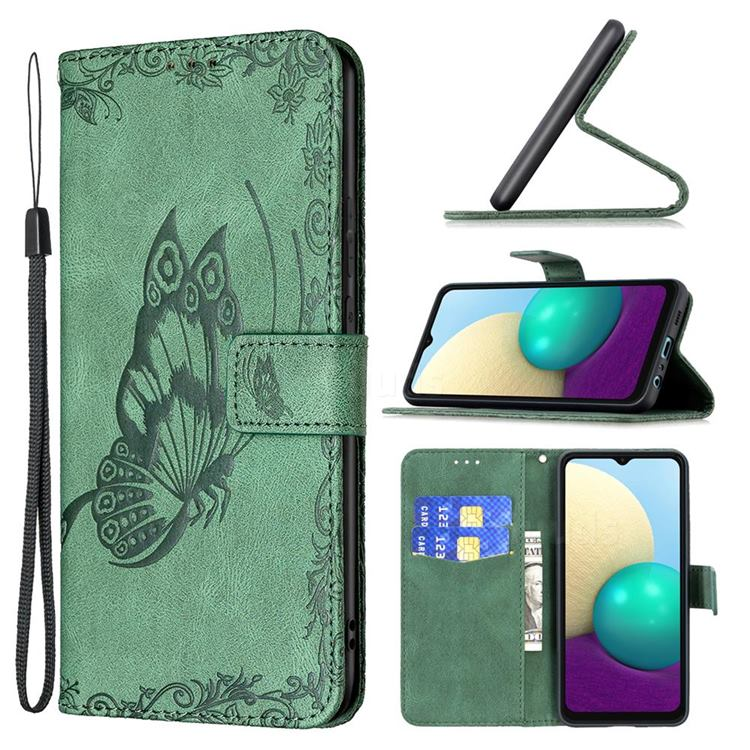 Binfen Color Imprint Vivid Butterfly Leather Wallet Case for Samsung Galaxy A02 - Green