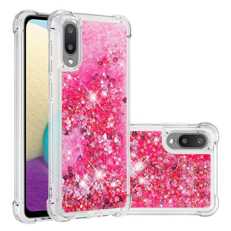 Dynamic Liquid Glitter Sand Quicksand TPU Case for Samsung Galaxy A02 - Pink Love Heart