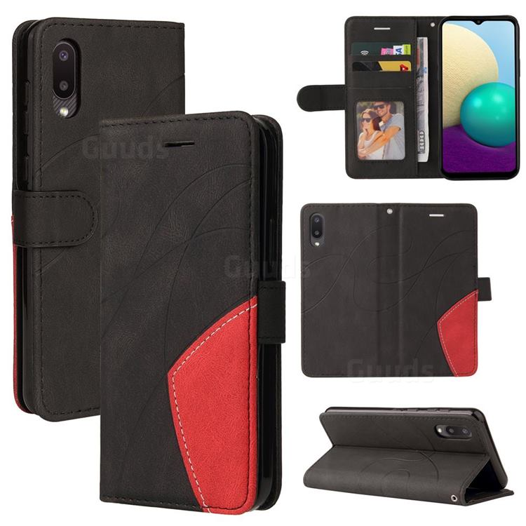 Luxury Two-color Stitching Leather Wallet Case Cover for Samsung Galaxy A02 - Black