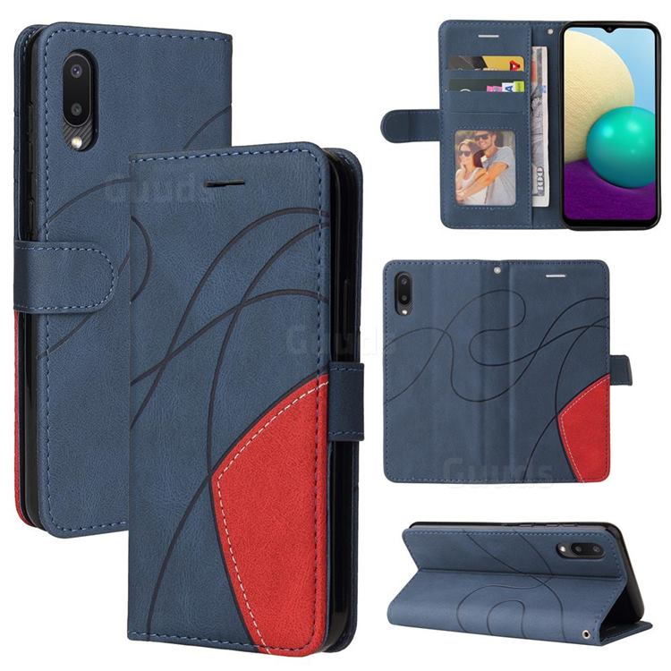 Luxury Two-color Stitching Leather Wallet Case Cover for Samsung Galaxy A02 - Blue