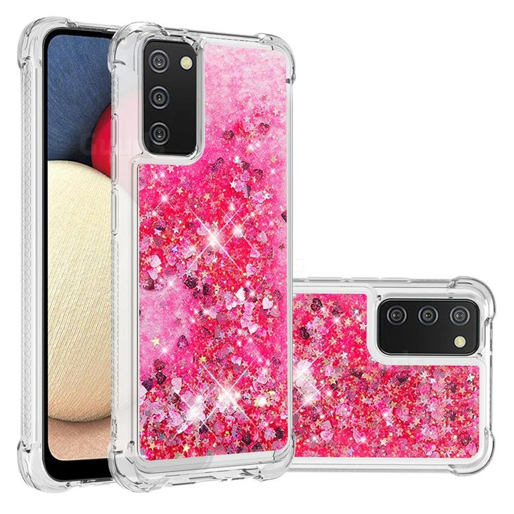 Dynamic Liquid Glitter Sand Quicksand TPU Case for Samsung Galaxy A02s - Pink Love Heart