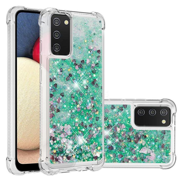 Dynamic Liquid Glitter Sand Quicksand TPU Case for Samsung Galaxy A02s - Green Love Heart