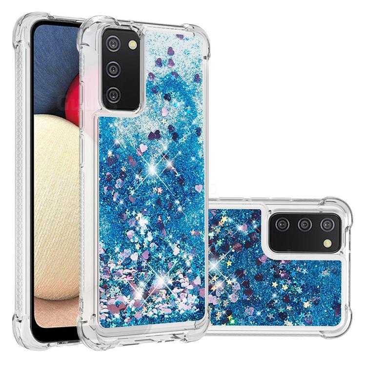 Dynamic Liquid Glitter Sand Quicksand TPU Case for Samsung Galaxy A02s - Blue Love Heart