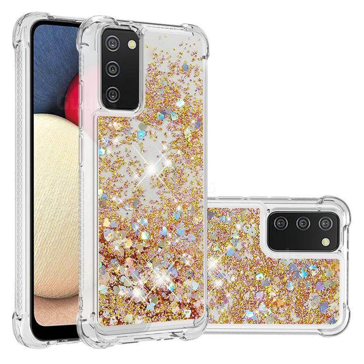 Dynamic Liquid Glitter Sand Quicksand TPU Case for Samsung Galaxy A02s - Rose Gold Love Heart
